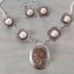 Amazing ammonite fossil pearl necklace set